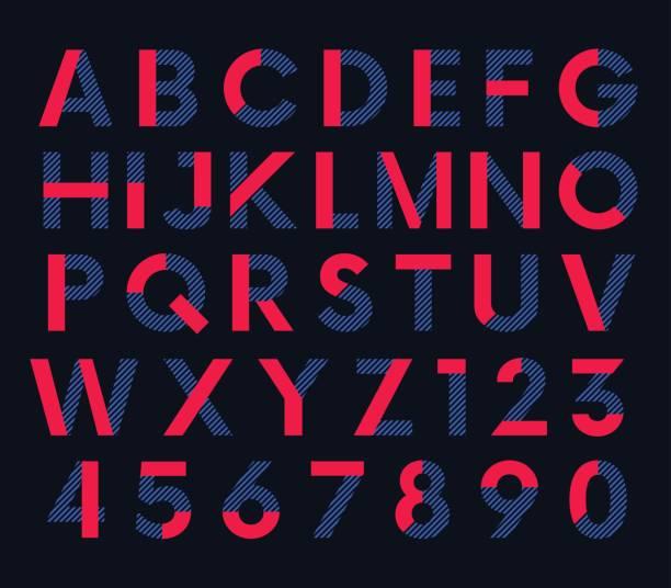 geometric decorative colored font, vector alphabet - alphabet patterns stock illustrations