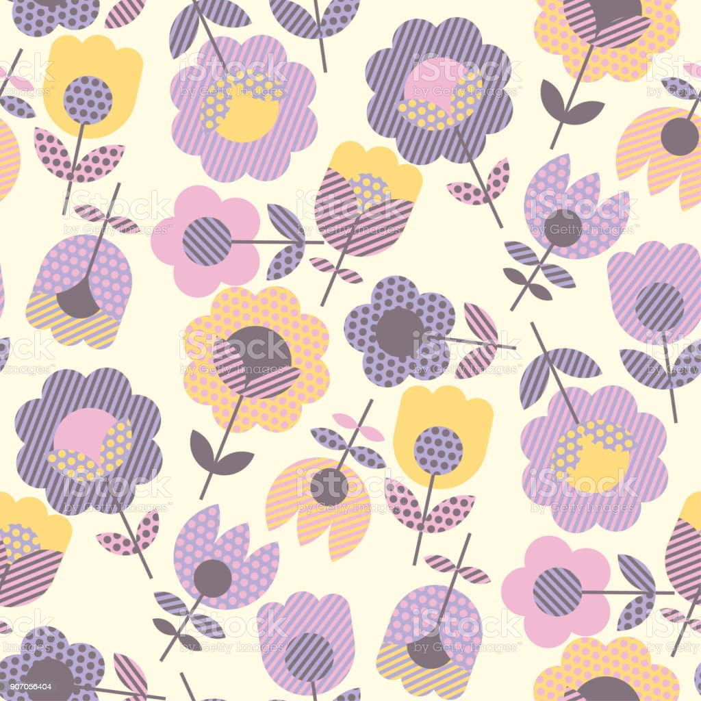 Geometric Decorative Flower Pattern For Fabric Wrapping Paper Web