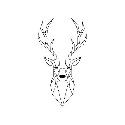 Geometric Deer illustration isolated on white background. Vector animal emblem.