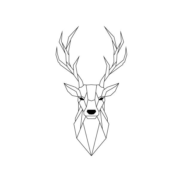 Geometric Deer illustration isolated on white background. Vector animal emblem. Geometric Deer illustration isolated on white background. Vector animal emblem. stag stock illustrations