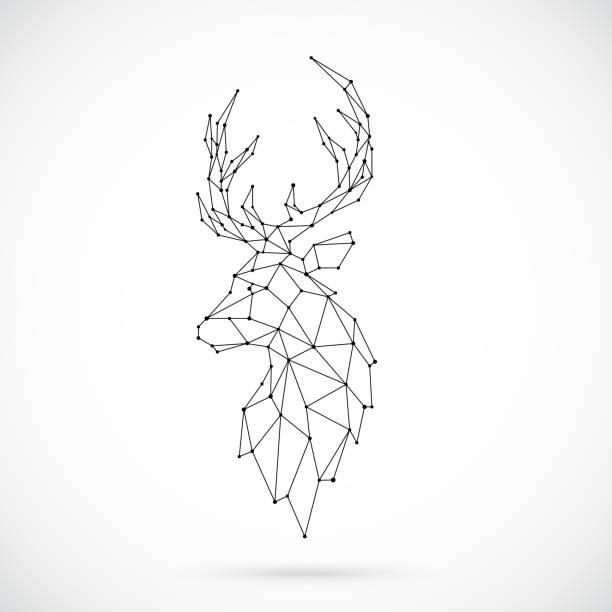 ilustraciones, imágenes clip art, dibujos animados e iconos de stock de silueta de ciervo geométrica. imagen de venado en forma de constelación. ilustración de vector. - tatuajes de estrellas