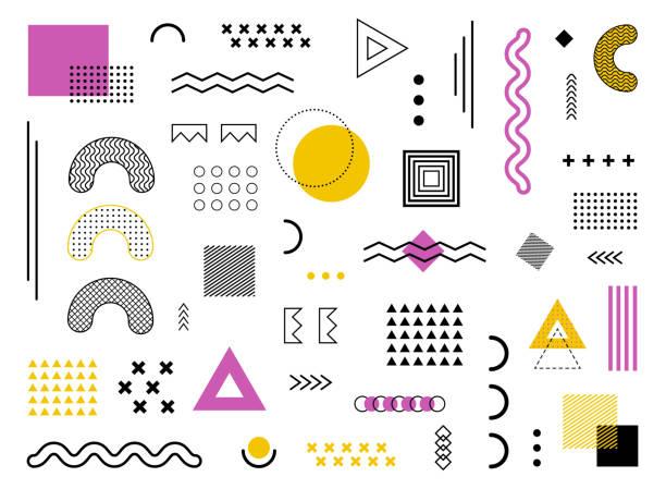 geometrischen design geometrischen hintergrund mit abstrakten element formen. grafik funky textur für urlaub poster, karte social media. abstraktes muster mit kreis- und halbtonpunkten. geometrie-banner. vektor - digitale verbesserung stock-grafiken, -clipart, -cartoons und -symbole