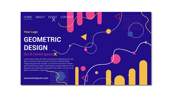 Geometric design landing page. Neon colors shapes and dark blue background.
