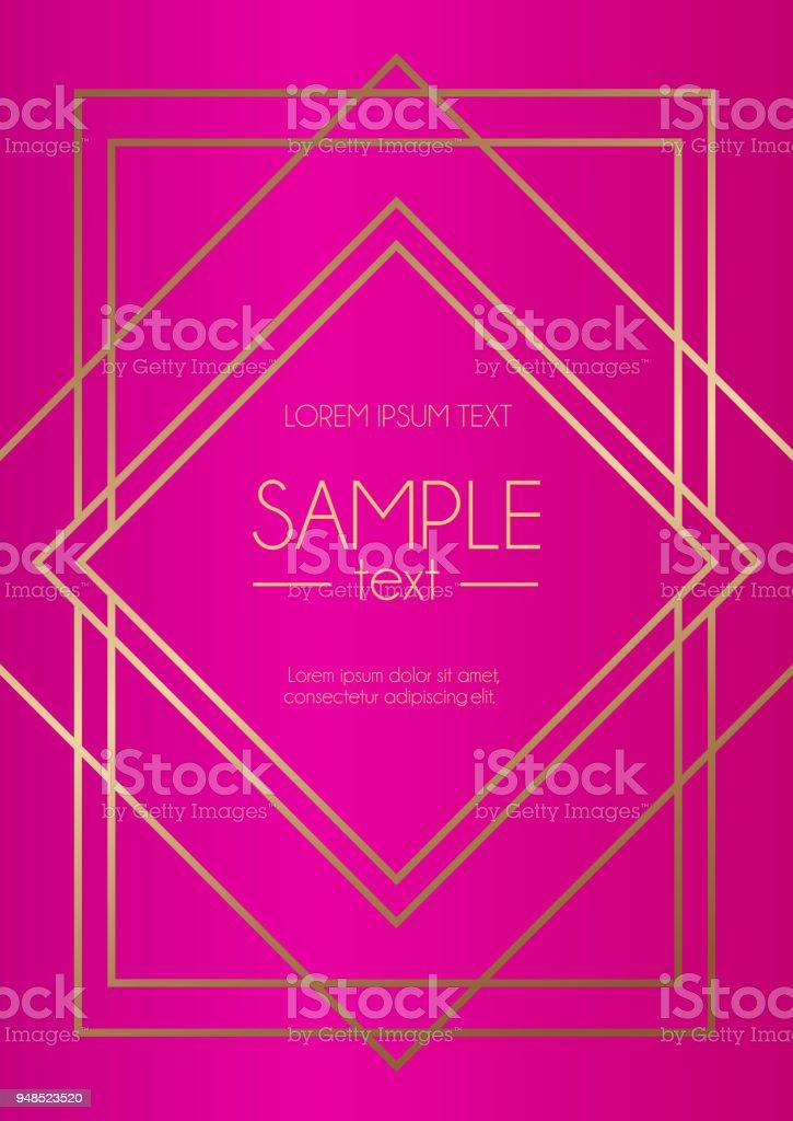 Modelo de design geométrico com linhas douradas e fundo fúcsia. Design moderno para convite de casamento, cartão de felicitações, aniversário. - ilustração de arte em vetor