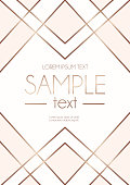 White and blush pink background with geometric rose gold lines. Vector illustration