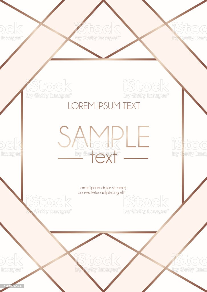 Geometric Design Template With Rose Gold Lines And Blush Pink Shapes