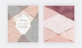 Geometric design with pink, grey, rose gold foil triangular shapes, golden lines on the marble texture. Modern template for banner, card, flyer, invitation, brochure.