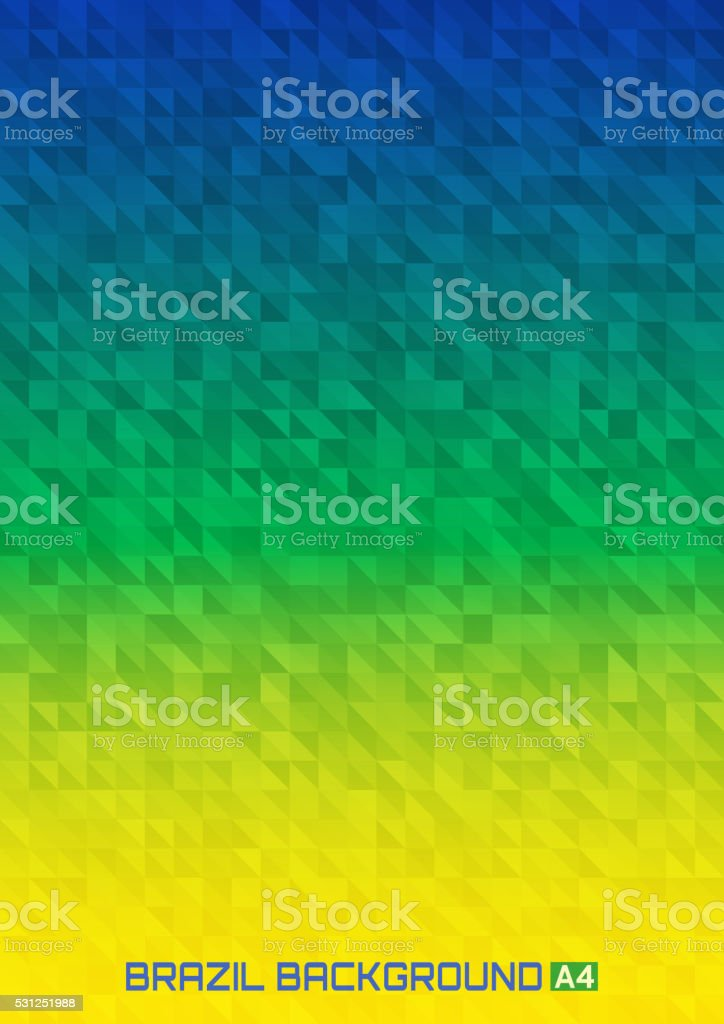 Geometric digital background Brazil 2016 flag colors, vector A4 format. vector art illustration