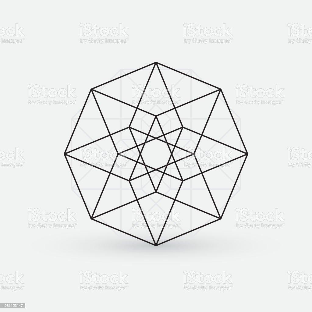 Line Art Geometry : Geometric element line design star shape stock vector art