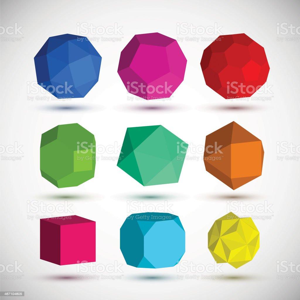Geometric elements set vector art illustration