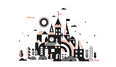 istock Geometric fairy tale kingdom, knight and princess castle, children room, class wall decoration. Colorful vector illustration 1009379476