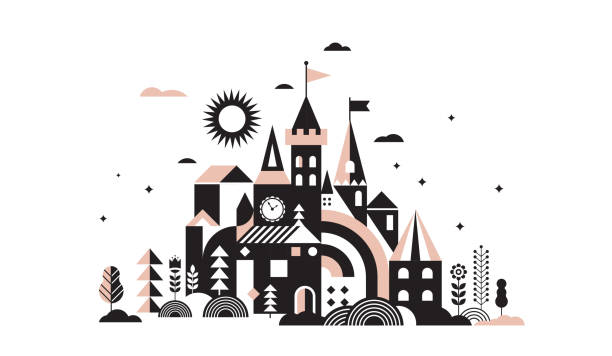 Geometric fairy tale kingdom, knight and princess castle, children room, class wall decoration. Colorful vector illustration Geometric fairy tale kingdom, knight and princess magic castle, children room, class wall decoration. Colorful vector illustration fairy tale stock illustrations