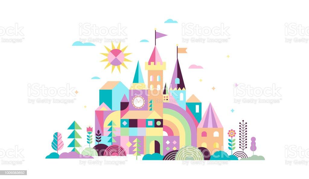 Geométrica del cuento de hadas Unido, caballero y princesa castillo, sala de niños, decoración de la pared de la clase. Ilustración de vector colorido - ilustración de arte vectorial