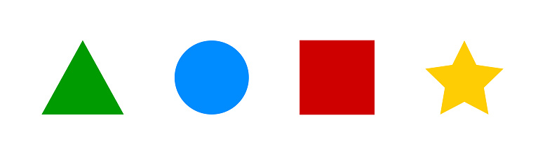 Geometric figure set. Vector illustration. Color geometry shape collection.