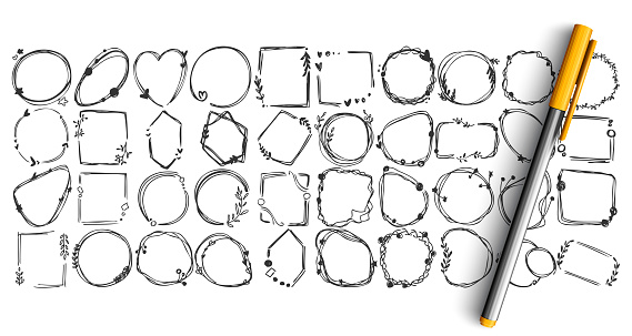 Geometric figures doodle set