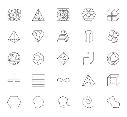 Geometric figures linear icons set. Squares, circles and triangles. Pyramid, prism. Abstract shapes. Isometric forms. Thin line contour symbols. Isolated vector outline illustrations. Editable stroke