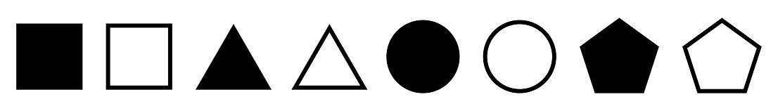 Geometric figures on white background. Set basic geometric shapes in flat style.