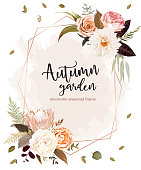 Geometric floral label frame arranged from leaves and flowers. Rust king protea, orange rose, ivory ranunculus, creamy dahlia, burgundy red leaves, pampas grass vector design. Autumn card. Editable.