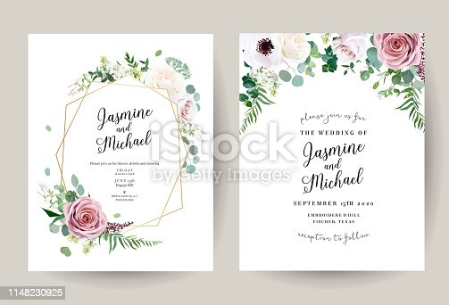 Geometric floral vector design frames. Dusty pink rose, anemone, white lilac, eucalyptus, greenery. Trendy wedding green and flowers rustic cards. Golden geometry style line art. Isolated and editable