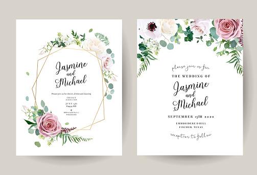 Geometric floral vector design frames