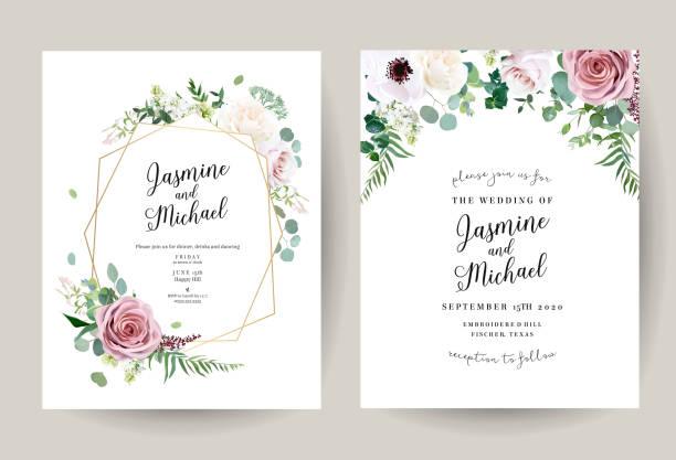 ilustrações, clipart, desenhos animados e ícones de frames florais geométricos do projeto do vetor - casamento