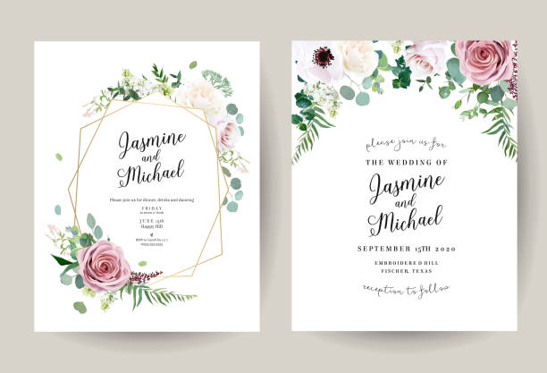illustrazioni stock, clip art, cartoni animati e icone di tendenza di geometric floral vector design frames - matrimonio