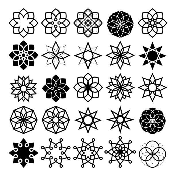 ilustrações de stock, clip art, desenhos animados e ícones de geometric flower and stars collection, lineart abstract flower icons set - mosaicos flores