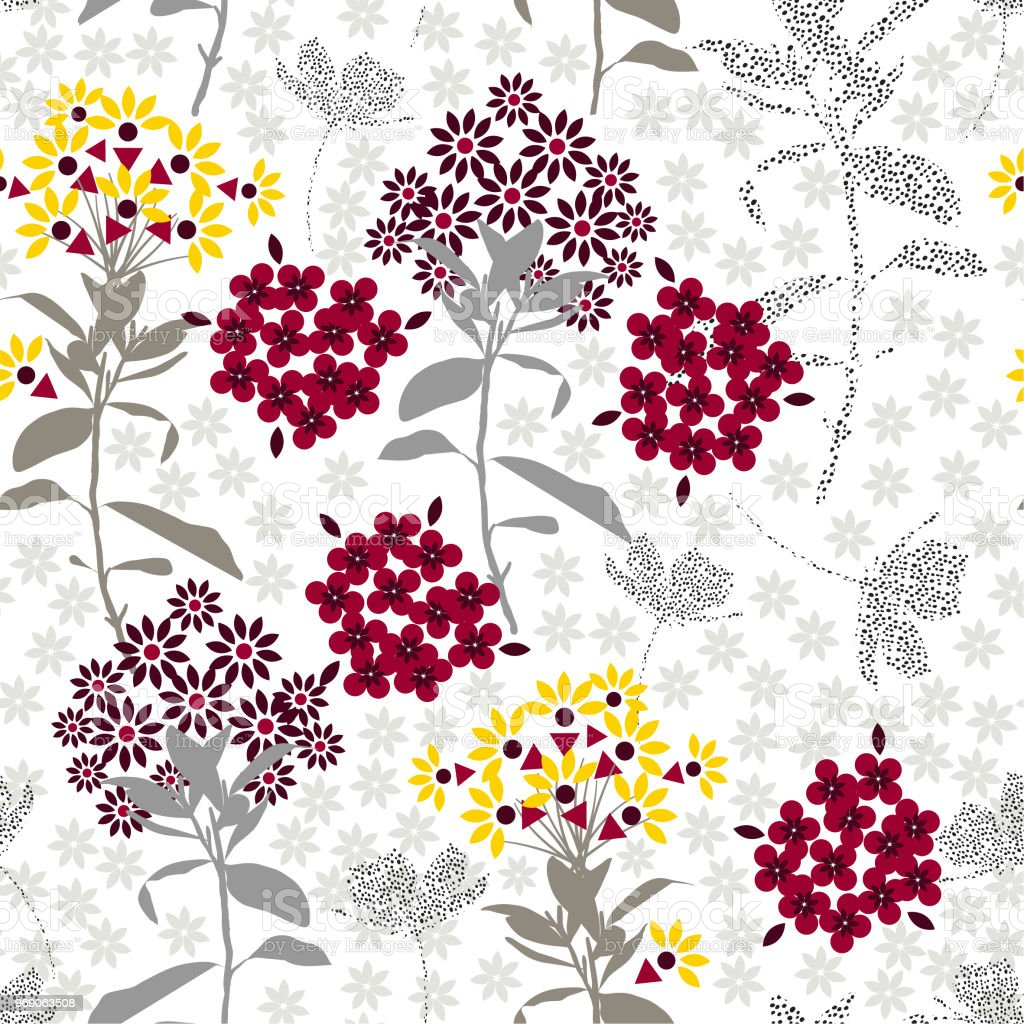 Geometric Flower Mix With Garden Leaf Florals Colorful Mood