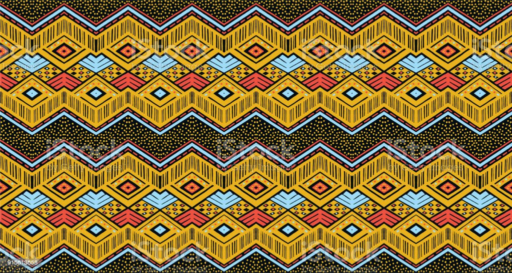 Geometric folklore ornament. Tribal ethnic vector texture. Seamless striped  pattern in Aztec style. vector art illustration