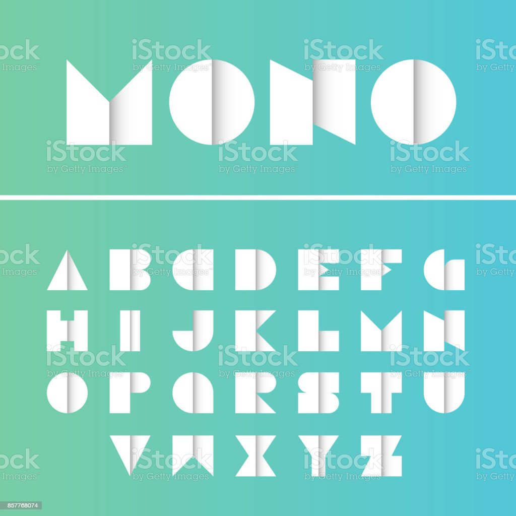 Geometric font. Vector alphabet with gradient effect letters stylized colorful bright font and alphabet. vector art illustration