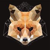 geometric Fox head  isolated on a black background