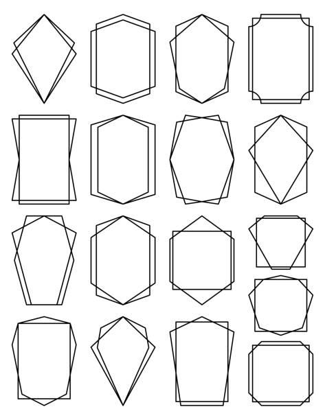 Geometric Frame Set vector art illustration