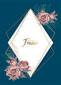 Geometric frame with watercolor flowers. Vector illustration.