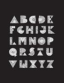 Geometric glitter hand drawn alphabet capital letters set. Easy to edit.