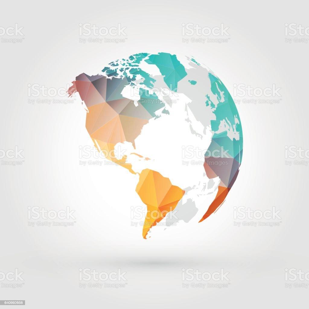 geometric globe earth planet america - ilustración de arte vectorial