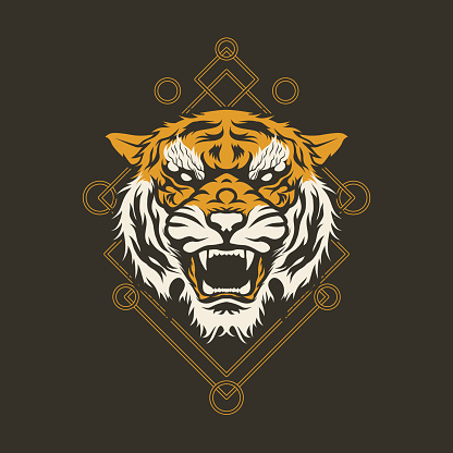 Geometric Gold And Grey Angry Tiger Head Mascot Tattoo T-shirt Design Vector Illustration