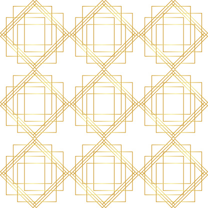 Geometric Golden Seamless Pattern - Arte vetorial de stock e mais imagens de Abstrato