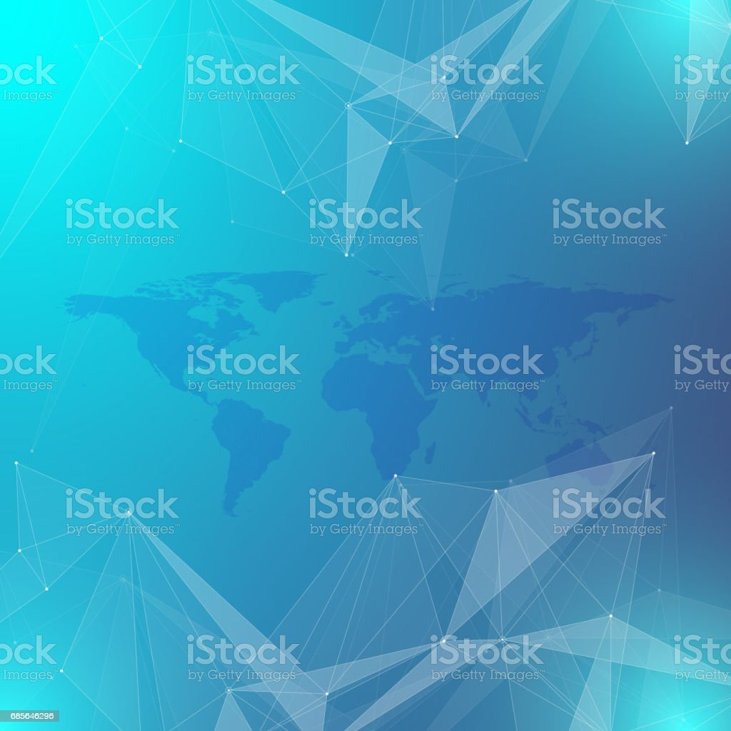 Geometric graphic background communication. Big data complex with Political World Map. Particle compounds. Network connection, lines plexus. Minimalistic chaotic design, vector illustration 免版稅 geometric graphic background communication big data complex with political world map particle compounds network connection lines plexus minimalistic chaotic design vector illustration 向量插圖及更多 世界地圖 圖片
