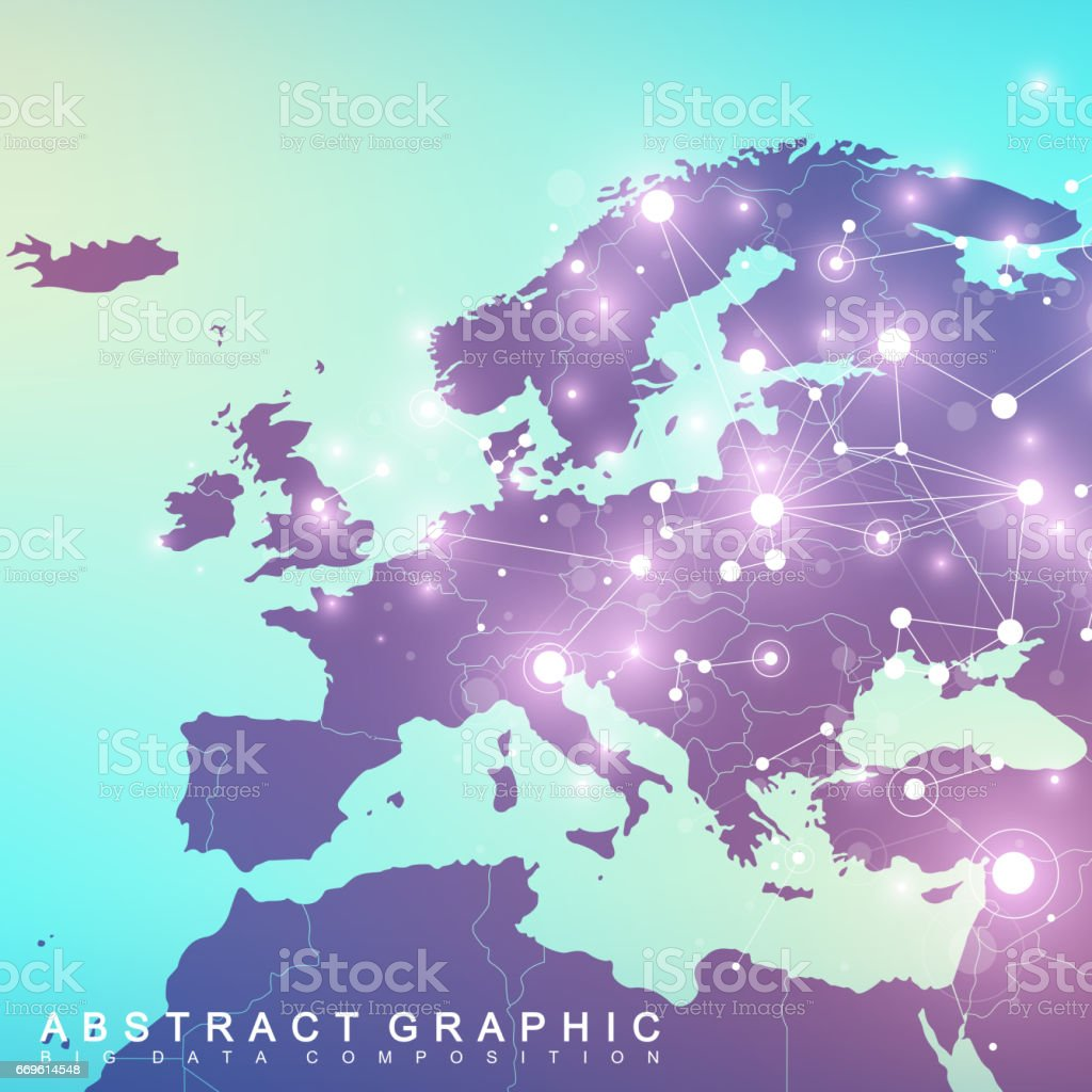 Geometric graphic background communication with europe map big geometric graphic background communication with europe map big data complex with compounds perspective backdrop gumiabroncs Choice Image