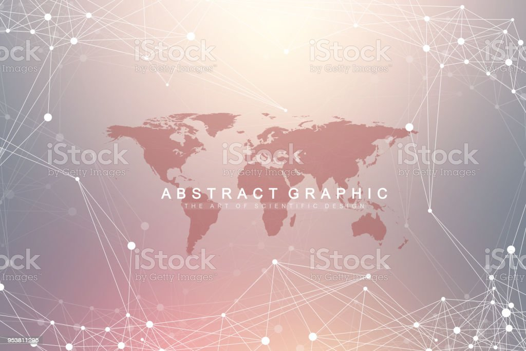 Geometric graphic background communication with World Map. Big data complex with compounds. Perspective backdrop. Minimal array. Digital data visualization. Scientific cybernetic vector illustration royalty-free geometric graphic background communication with world map big data complex with compounds perspective backdrop minimal array digital data visualization scientific cybernetic vector illustration stock illustration - download image now