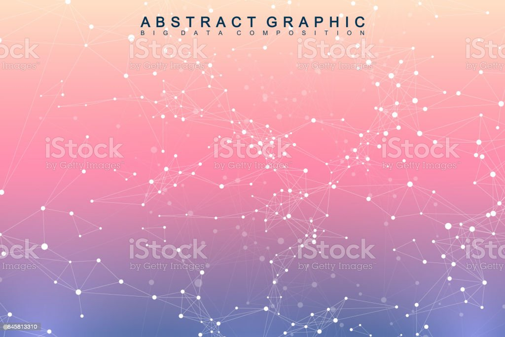 Geometric graphic background molecule and communication. Big data complex with compounds. Perspective backdrop. Minimal array. Digital data visualization. Scientific cybernetic vector illustration vector art illustration