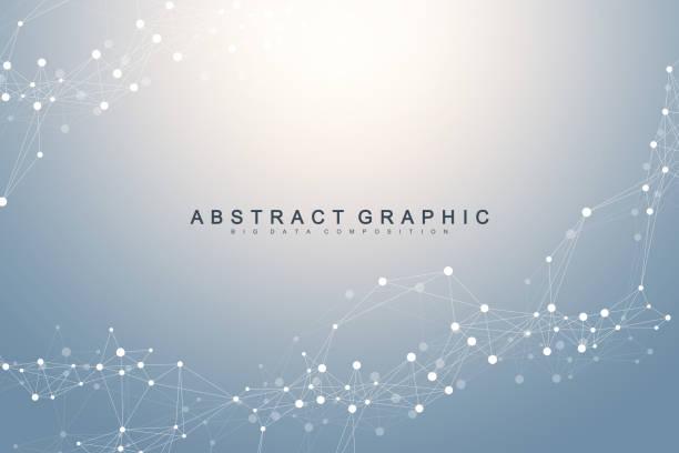 Geometrische grafische Hintergrundmolekül und Kommunikation. Verbundene Linien mit Punkten. Minimalismus chaotische Illustration Hintergrund. Konzept der Wissenschaft, Chemie, Biologie, Medizin, Technologievektor – Vektorgrafik
