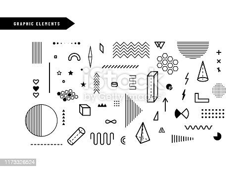 Geometric graphic elements. Set of geometrical shapes for abstract vector background design in trendy simple geometric style.