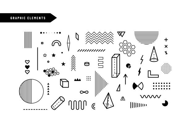 Geometric graphic elements. Set of geometrical shapes for abstract vector background design in trendy simple geometric style Geometric graphic elements. Set of geometrical shapes for abstract vector background design in trendy simple geometric style. fashion stock illustrations