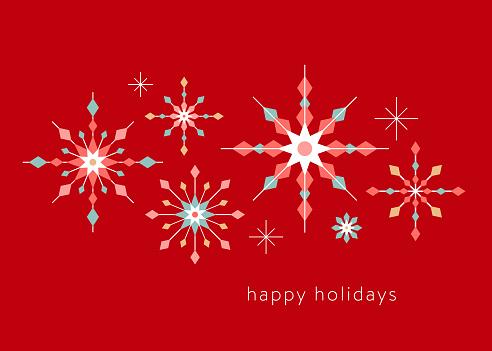 Geometric Graphic Snowflake Holiday Background