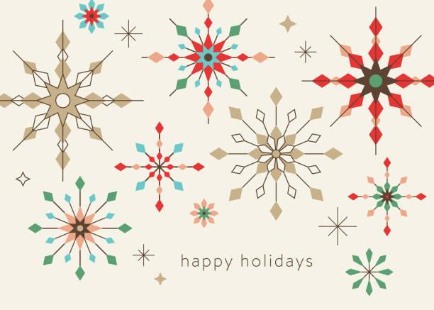 geometric graphic snowflake holiday background - holiday season stock illustrations