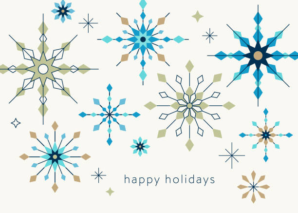 Geometric Graphic Snowflake Holiday Background vector art illustration