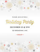 Geometric snowflakes background with greetings. Christmas, Holiday party invitation with simple geometric shapes. Stylized snowflakes. Scandinavian style.