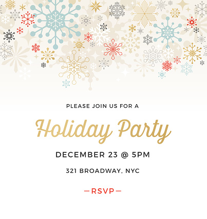Geometric Graphic Snowflake Holiday Party Invitation