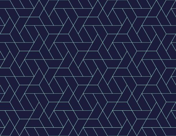 illustrazioni stock, clip art, cartoni animati e icone di tendenza di geometric grid seamless pattern - blu scuro